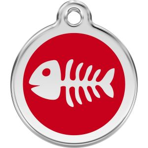 Red Dingo Fish Bones Pet ID Dog Tags