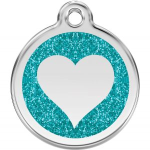 Red Dingo Glitter Heart Pet ID Dog Tags