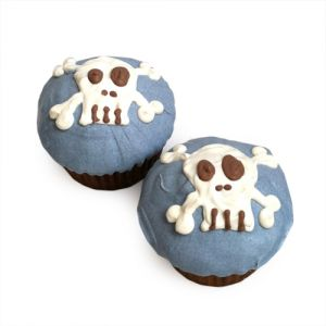 Blue Punk Rock Skull Cupcakes (case of 6)