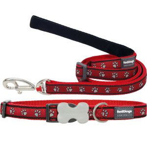 Pawprint Red Collar or Leash