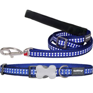 Reflective Bones Dark Blue Collar or Leash or Harness