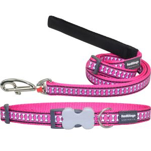 Reflective Bones Hot Pink Collar or Leash or Harness