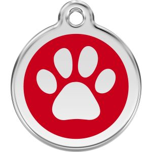 Red Dingo Paw Print Pet ID Dog Tags