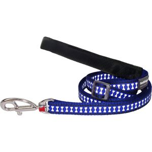 Reflective Bones Leash - Dark Blue