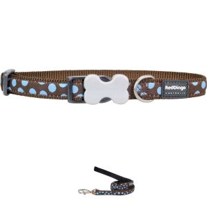 Blue and Brown Polka Dot Collar or Leash